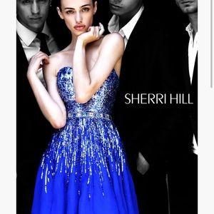 NEVER WORN Sherri Hill Glitzy Blue Prom Dress